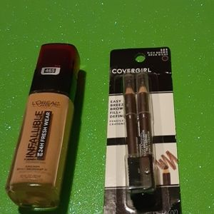 L'Oreal Foundation and Covergirl two eyebrow penci